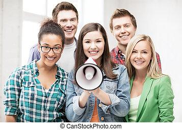 studenten, schule, megaphon, gruppe