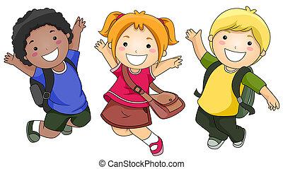 studenten, springende