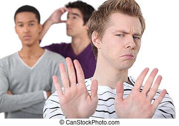 studenten, streiten, mann, gruppe