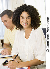 studenten, studieren, erwachsener, focus), (selective, tisch