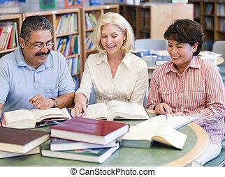 studenten, studieren, fällig, buchausleihe