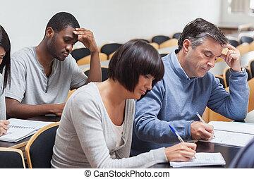 studenten, vortrag, nehmen notizen