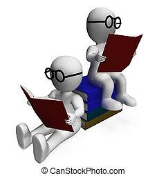 studenti, accademico, lettura, libri, mostra