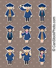 studenti, adesivi, cartone animato, laureato