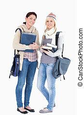 studenti, apparecchiato, libri, inverno, due