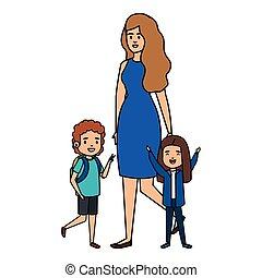 studenti, bambini, insegnante, femmina, felice