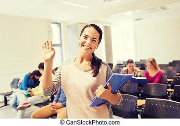 studenti, conferenza, sorridente, gruppo, salone