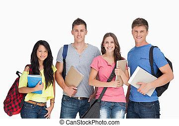 studenti, essi, presa, dall'aspetto, macchina fotografica, notepads