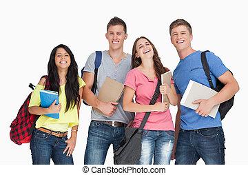 studenti, essi, sguardo, gruppo, ridere, macchina fotografica