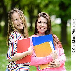 studenti, estate, parco, felice