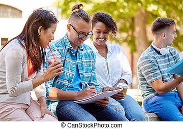 studenti, felice, quaderno, gruppo, bibite