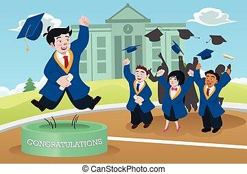 studenti, festeggiare, graduazione
