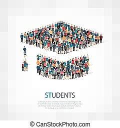 studenti, folla, persone