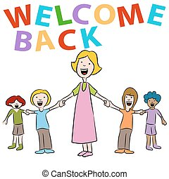 studenti, insegnante, indietro, welcom