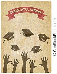 studenti, lancio, cappucci graduazione