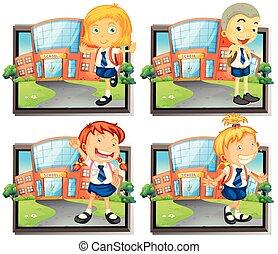 studenti, quattro, uniform scuola