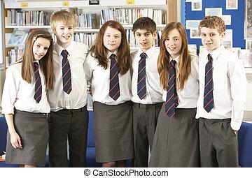 studenti, ritratto, adolescente, gruppo, biblioteca