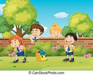 studenti, saltando, uniform scuola