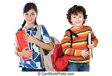 studenti, scolari, due, ritornare