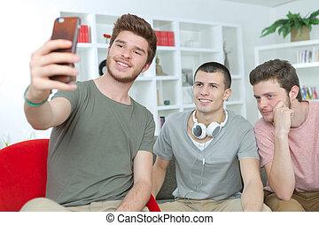 studenti, selfie, tre, presa, casa ritratto, università