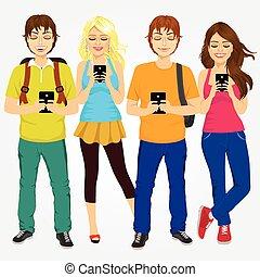 studenti, usando, giovane, telefoni mobili