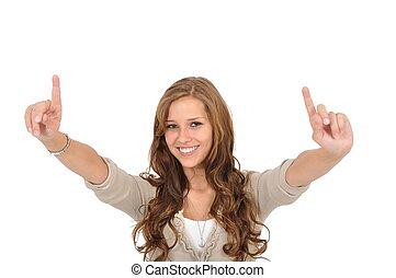 studentin, hebt, vinger