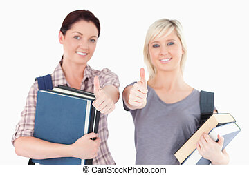students, два, вверх, books, thumbs, женский пол