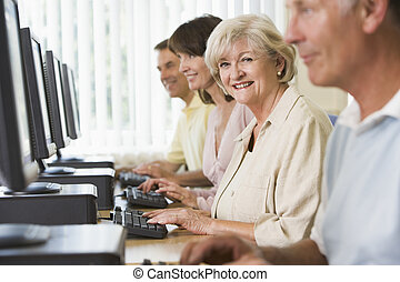 students, компьютер, взрослый, лаборатория