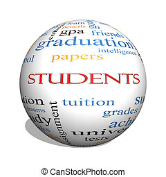 Students 3D sphere Word Cloud Concept