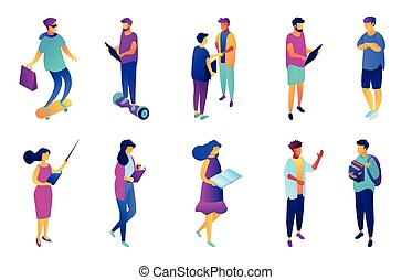 Students and business people isometric 3D illustration set....