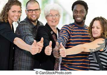 Students and Professor Showing Thumbs Up