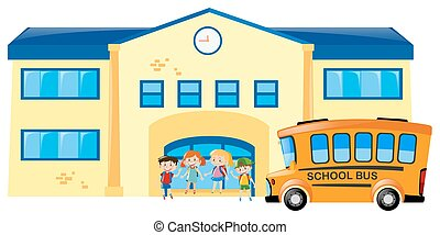 Students and school bus in front of school