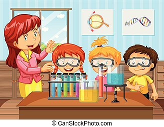 Students and Teacher in Chemistry Class