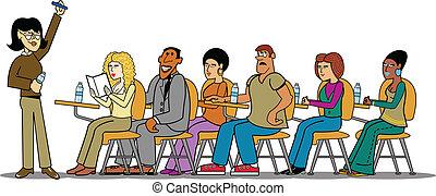 Students And Teacher - Teacher teaching students of...