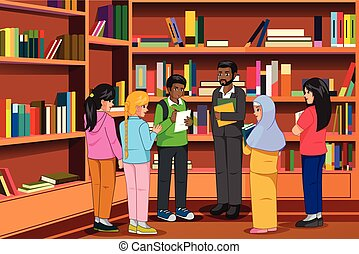 Students and Teachers in the Library Illustration