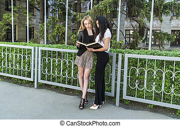 students are studying book near the fence