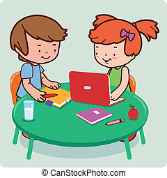 A boy and a girl young students doing their homework. Vector illustration