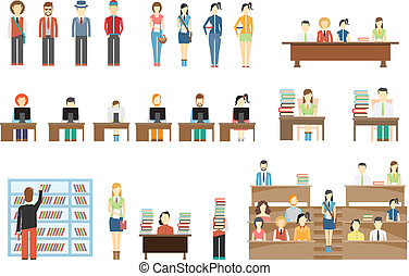 Students at University. Girls and boys. In classroom, at school desk. Vector eps10 illustration