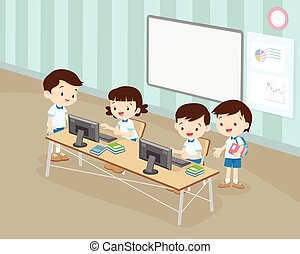 students boy and girl are working with computer in classroom