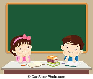 students boy and girl sitting in front of chockboard