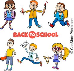 students children back to school cartoon illustration