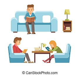 Students children in library reading books, people in bookshop vector flat design