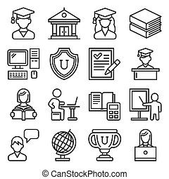 Students College Education Icons Set on White Background. Line Style Vector