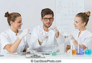 Students conducting an experiment
