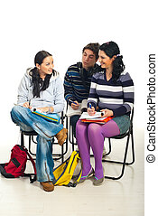 Students conversation in classroom