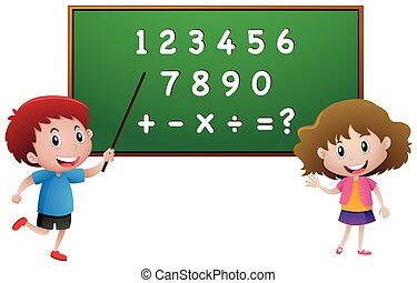 Students counting numbers on blackboard
