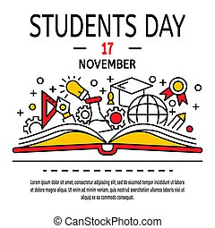 Students day concept background, outline style