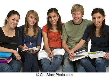 Students - Diverse group of students studying (Caucasian,...