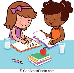 Students doing homework - Vector Illustration of two girls...
