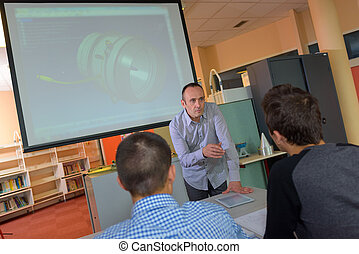 students during technical class